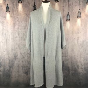 Eileen Fisher Gray Cotton Long Cardigan M/L